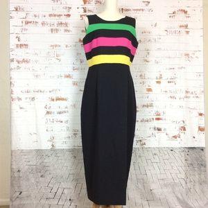 Vintage Leslie Luck Neon-tastic Sheath Dress